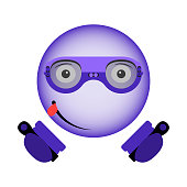 Vector image of an enthusiastic smiley in virtual reality glasses with a controller in hands in the ultraviolet color.