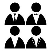 Vector image of black people icons in jackets with a tie and a butterfly.