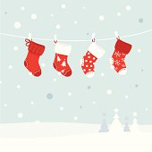 Cute christmas stockings, winter snow in background. Vector  retro Illustration