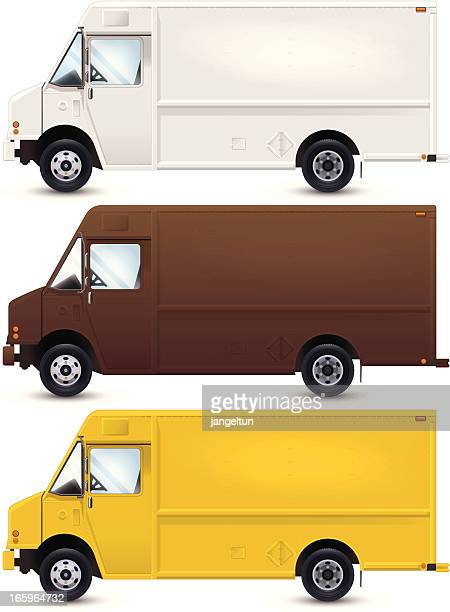A vector image of work trucks that are in different colors