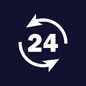 Vector image round the clock. 24 hours. Time icon. Business concept pictogram. Vector white icon on dark blue background.