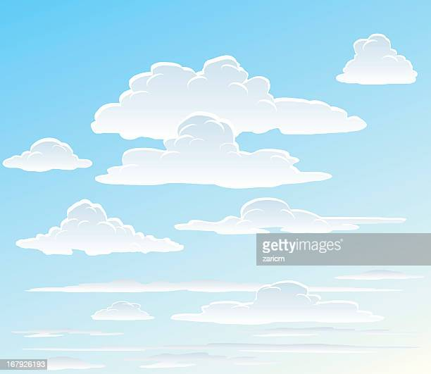 Vector images of white clouds in the sky