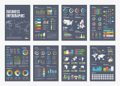 Vector infographic A4 brochure elements for business data visualization.