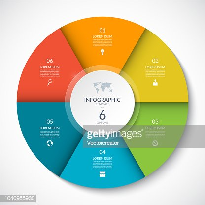 Vector infographic circle. Cycle diagram with 6 options. Can be used for chart, graph, report, presentation, web design. : stock vector