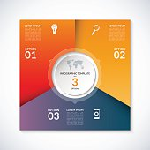 Vector infographic square template. Banner with 3 steps, stages, options, parts. Can be used for diagram, graph, pie chart, brochure, report, business presentation, web design.