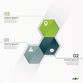 Vector infographic template with 3 hexagons for presentations, advertising, layouts, annual reports
