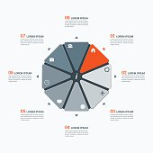 Vector infographic template with octagon 8 options