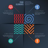 Vector infographics template. Four elements illustration and environmental, ecology icons on black background. Concept for business, renewable and alternative energy, synergy, save earth day, travel.