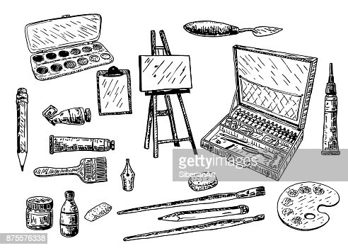 Vector ink hand drawn painting tools and accessories set : Arte vetorial