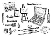 Vector ink hand drawn style painting tools and accessories set. Sketch doodle illustration isolated on white background.