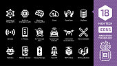 Vector innovation technology icon set on a black background with high tech digital wireless smart future business concept silhouette sign. Cloud, sensors, e-money, no-checkout store and more symbols.