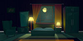 Vector cartoon illustration of cozy bedroom at night. Modern interior of living room with double bed, nightstand with lamp, dresser, armchair, window with curtains in moonlight. Concept background