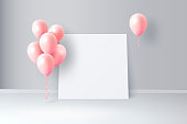 Vector interior scene with glossy balloons and big white piece of paper. Background with empty space for birthday, party banners, text