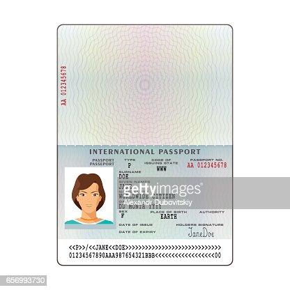 Vector International Passport Template With Sample Personal Data