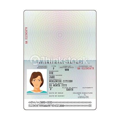 Vector International Passport Template With Sample Personal Data ...
