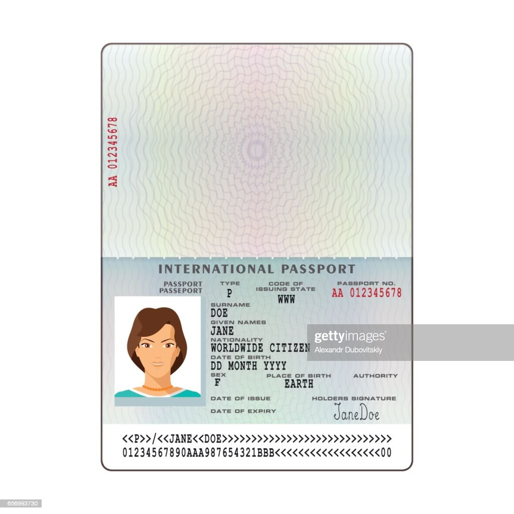 Vector International Passport Template With Sample Personal Data Page :  Vector Art