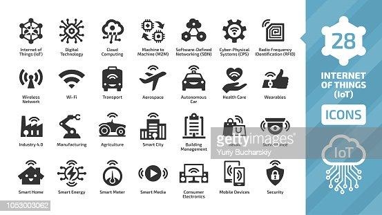 Internet Vector icono cosas con red inalámbrica y tecnología digital de IoT de computación en nube. Casa inteligente, ciudad, M2M, industria 4.0, agricultura, automóvil, aeroespacial, healthcare, símbolos de negocios. : arte vectorial