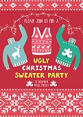 Vector invitation template with ugly sweaters, scandinavian ornaments and text 'Please join us for a ugly Christmas sweater party'. Holiday background with knitted elements. Christmas card.