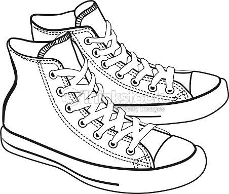 Vecteur de dessin anim isol avec des baskets lineart clipart vectoriel thinkstock - Dessin basket ...