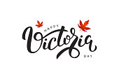 Vector isolated handwritten lettering for Victoria Day with realistic red maple leaves. Vector typography for greeting card, decoration and covering. Concept of Happy Victoria Day in Canada.