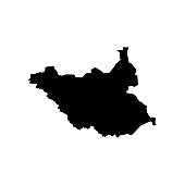 Vector isolated illustration of political map African state - South Sudan. Black silhouette. White background