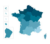 Vector isolated illustration of simplified administrative map of France. Borders  of the regions. Colorful blue silhouettes