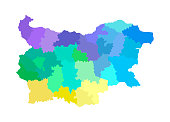 Vector isolated illustration of simplified administrative map of Bulgaria. Borders of the regions. Multi colored silhouettes.