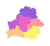 Vector isolated illustration of simplified administrative map of Belarus. Borders of the regions. Multi colored silhouettes.
