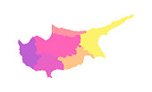Vector isolated illustration of simplified administrative map of Cyprus. Borders of the districts (regions). Multi colored silhouettes.