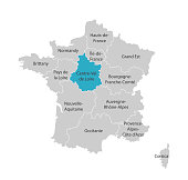 Vector isolated illustration of simplified administrative map of France. Blue shape of Centre-Val de Loire. Borders of the provinces (regions). Grey silhouettes. White outline.