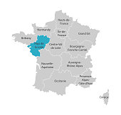 Vector isolated illustration of simplified administrative map of France. Blue shape of Pays de la Loire. Borders of the provinces (regions). Grey silhouettes. White outline.