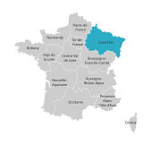 Vector isolated illustration of simplified administrative map of France. Blue shape of Grand Est. Borders of the provinces (regions). Grey silhouettes. White outline
