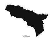 Vector isolated illustration of simplified map - Abkhazia. Black silhouette. White background.
