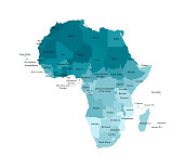 Vector isolated illustration with African continent with borders and names of all states. Political map. White background and outline, blue shapes