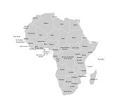 Vector isolated illustration with African continent with borders and names of all states. Political map. White background and outline, grey shapes.