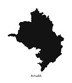 Vector isolated simplified illustration icon with black silhouette of Artsakh (Nagorno-Karabakh Republic) map. White background.