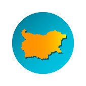Vector isolated simplified illustration icon with orange silhouette of Bulgaria. Blue background