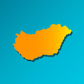 Vector isolated simplified illustration icon with orange silhouette of Hungary. Blue background