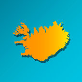 Vector isolated simplified illustration icon with orange silhouette of Iceland. Blue background