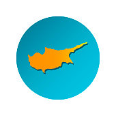 Vector isolated simplified illustration icon with orange silhouette of Cyprus . Blue background
