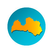 Vector isolated simplified illustration icon with orange silhouette of Latvia. Blue background