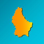 Vector isolated simplified illustration icon with orange silhouette of Luxembourg. Blue background