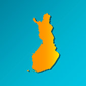 Vector isolated simplified illustration icon with orange silhouette of Finland map. Blue background