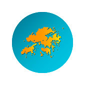 Vector isolated simplified illustration icon with orange silhouette of Hong Kong (China). Blue background