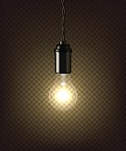 Vector isolated vintage lamp on dark transparent background.