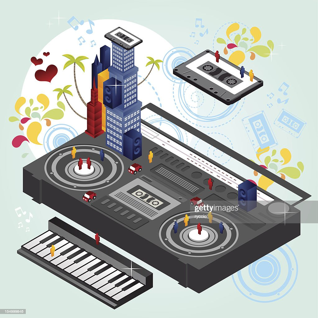 Vector isometric boombox music city : Vector Art