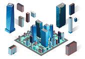 Vector illustration. Modern district. Big city street isometric buildings. Skyscrapers icons on white background. Hotel, business center and houses.