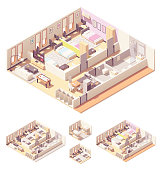 Vector isometric dormitory or dorm room interior cross-section with beds, bathroom, shower cabin and toilet, wardrobes, common living room and kitchen
