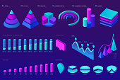 Vector Isometric infographic element set. Colorful infographic design. Design elements for business presentation, statistics of data, web site. Decorative diagrams, graphs, columns, pyramids. Eps 10
