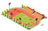 Vector isometric low poly outdoor athletics track and field stadium